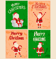 xmas father frost cartoon character sticker grunge vector image