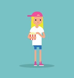Young blond girl chewing popcorn full length vector