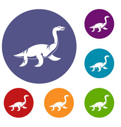 elasmosaurine dinosaur icons set vector image vector image