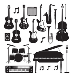 Jazz Music Instruments Silhouette Objects Set vector image vector image