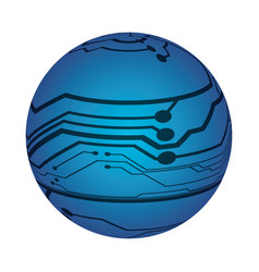 microchip circuit sphere vector image