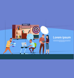 Modern office business people group working vector
