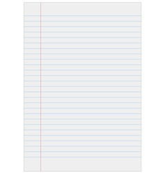 Notebook paper with lines vector image vector image