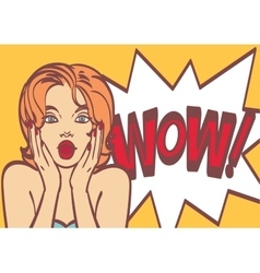 Pop art surprised woman face with open mouth vector image vector image