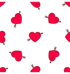 valentines hearts with arrows seamless vector image
