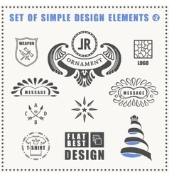 vintage flat elements icons collection vector image vector image