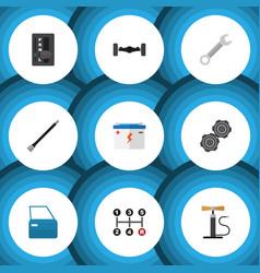 Flat icon service set of automobile part vector