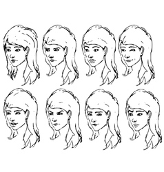 Girl face expressions sketches vector image