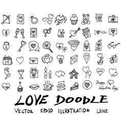 love doodle icon set isolated hand vector image