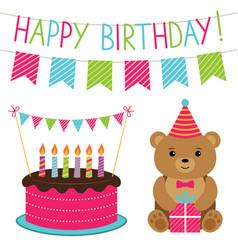birthday set vector image vector image