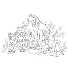 jesus reading the bible to children coloring page vector image vector image