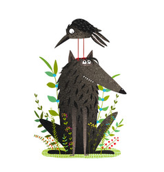 scary wolf and funny crow in forest vector image vector image