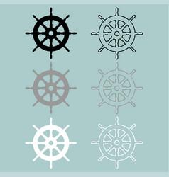 ships wheel black grey white colour icon vector image vector image