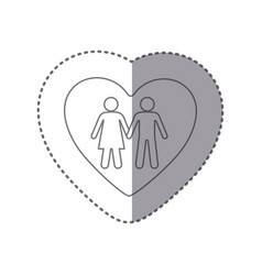 sticker monochrome silhouette of couple inside of vector image