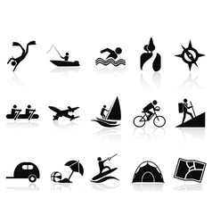 summer activities icons set vector image