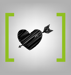 arrow heart sign black scribble icon in vector image