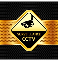 Cctv symbol on a metallic perforated background vector image vector image