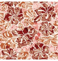 Grunge Hibiscus flowers seamless pattern vector image