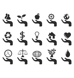 hand concept icons set vector image vector image