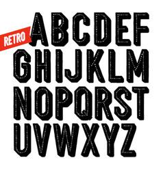 handmade retro font black dot inline condensed vector image vector image