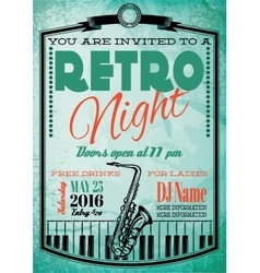 retro poster for billboard with saxophone and vector image vector image