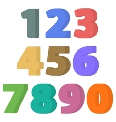 Set of flat numbers vector image vector image