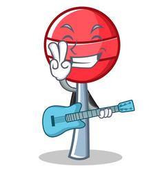with guitar sweet lollipop character cartoon vector image vector image