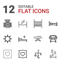 12 bed icons vector