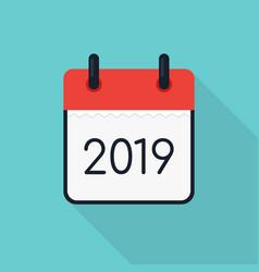 2019 calendar icon minimal modern flat design vector image