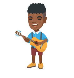 African boy singing and playing acoustic guitar vector