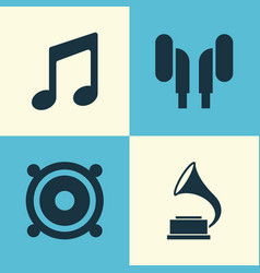 audio icons set collection of music phonograph vector image