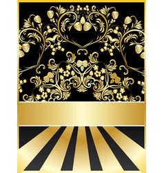 background with golden floral vector image