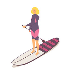 Beautiful girl in springsuit on a longboard vector