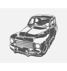 Black painted retro car art vector