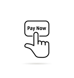 black thin line pay now with hand vector image