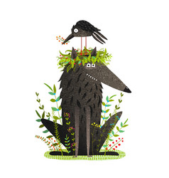 Black wolf and crow sitting on head friendship vector