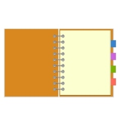 Blank spiral notebook with colorful bookmarks vector