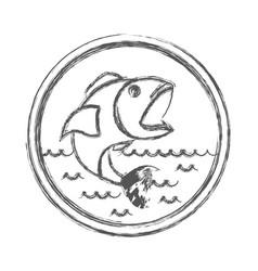 blurred sketch silhouette of circular shape emblem vector image