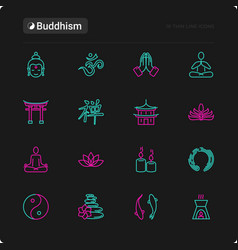Buddhism thin line icons set vector