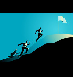 Businessmen racing uphill to seize the flag vector