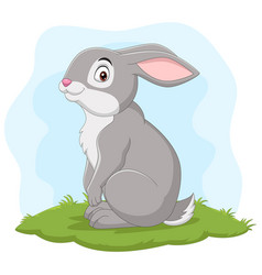 cartoon happy rabbit in grass vector image