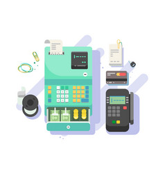 cash machine with money and terminal for cards vector image