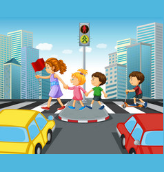 children crossing street in city vector image