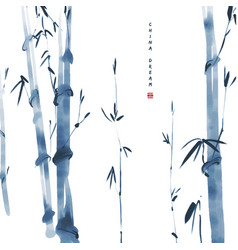 chinese ink painted background with bamboo china vector image