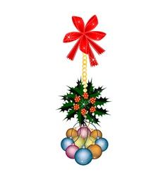 Christmas Ball and Christmas Holly with Red Bow vector image
