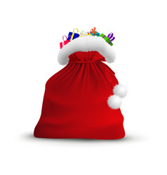 christmas open bag santa claus isolated on vector image