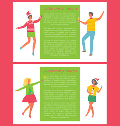 christmas party poster with people and text sample vector image
