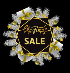 christmas sale card with gold lettering and white vector image