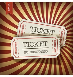 cinema tickets on retro rays background vector image vector image