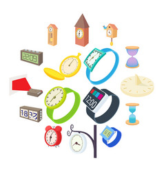 clock and watch icons set cartoon style vector image